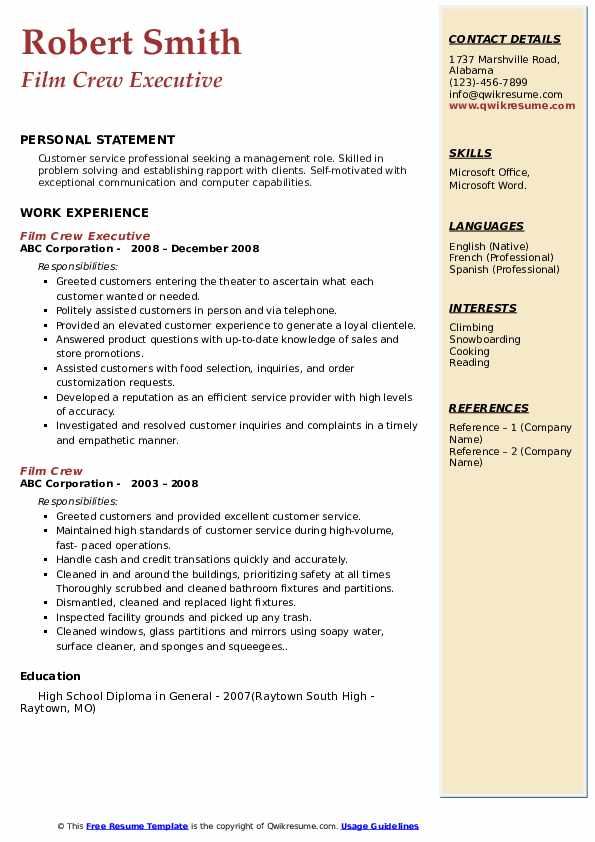 Film Crew Executive Resume Model