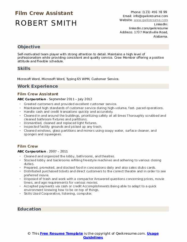 Film Crew Assistant Resume Template