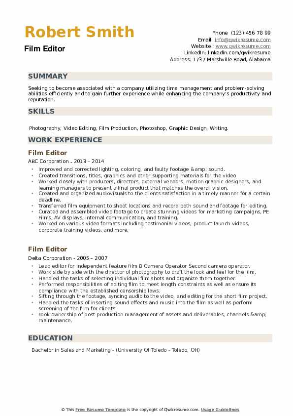 Film Editor Resume example