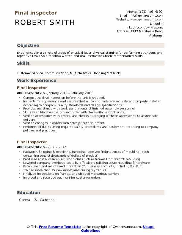 Final inspector Resume Model