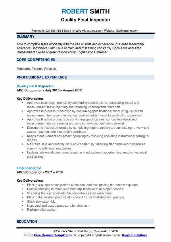 Quality Final Inspector Resume Example