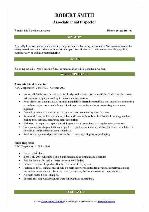 Associate Final Inspector Resume Example