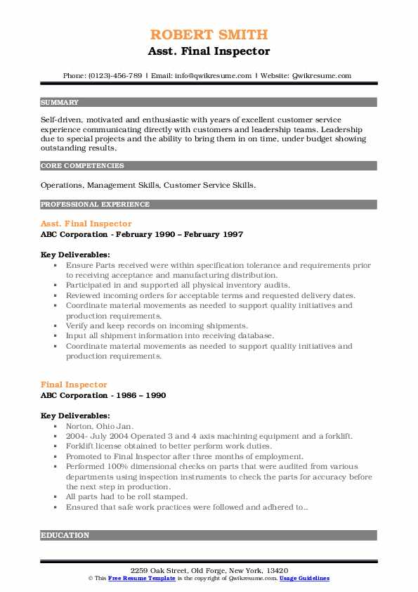 Asst. Final Inspector Resume Model