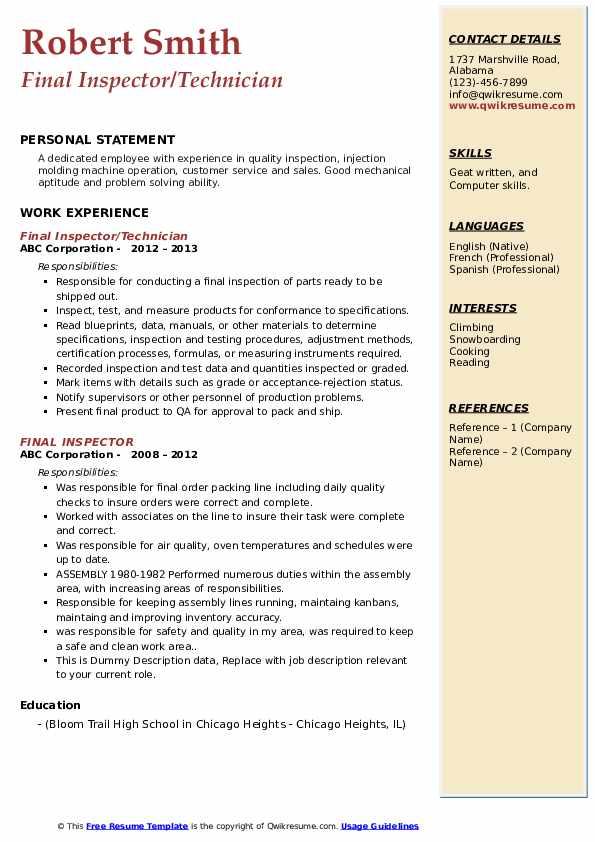 Final Inspector/Technician Resume Sample