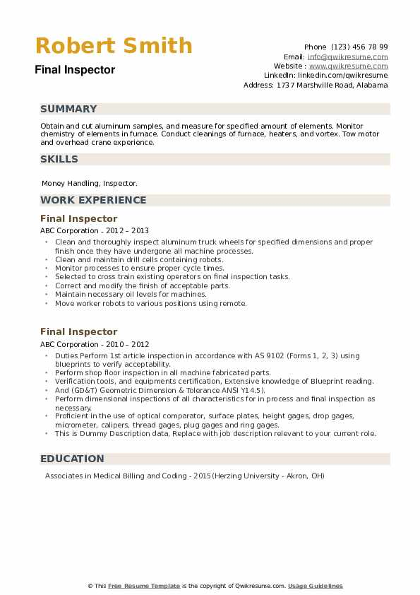Final Inspector Resume example