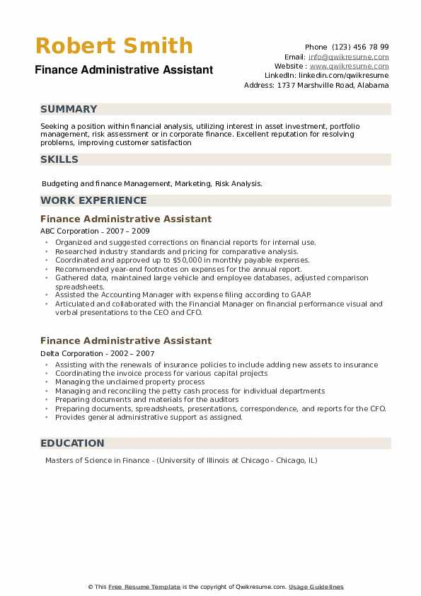 Finance Administrative Assistant Resume example