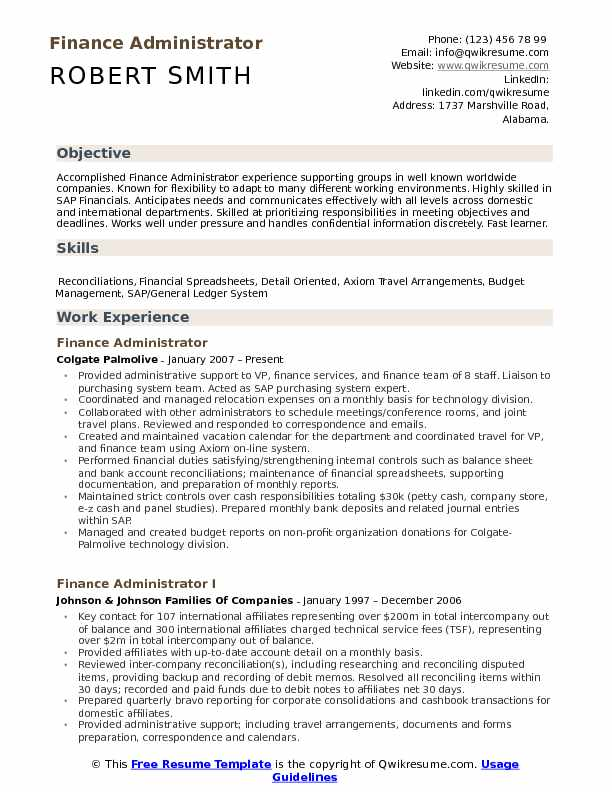 Finance Administrator Resume Example