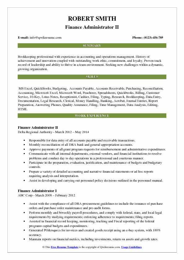 Finance Administrator II Resume Sample