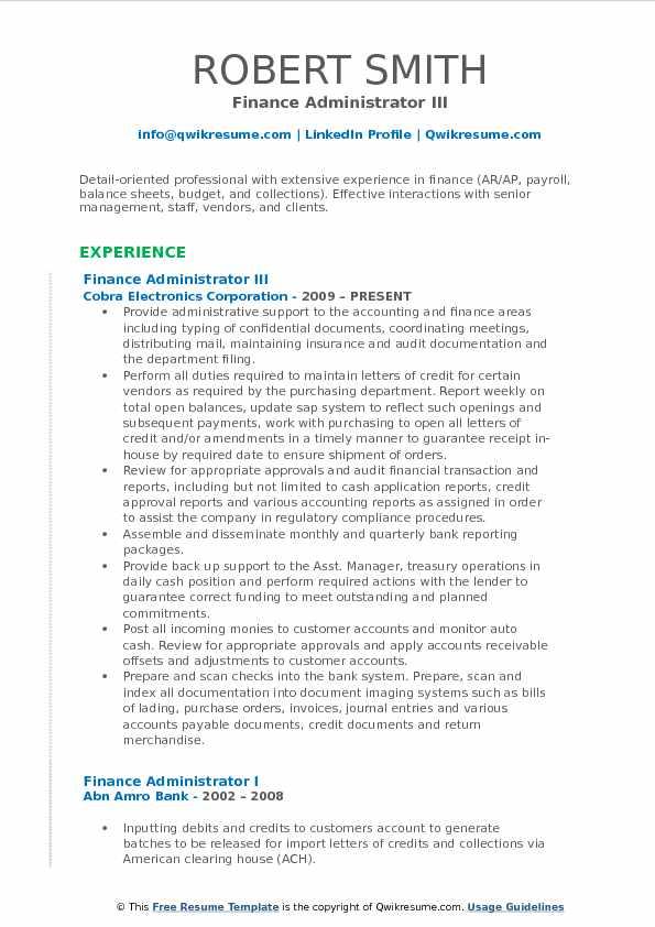 Finance Administrator III Resume Format