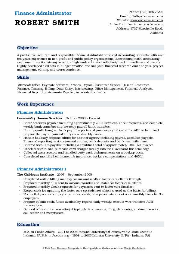 Finance Administrator Resume Template