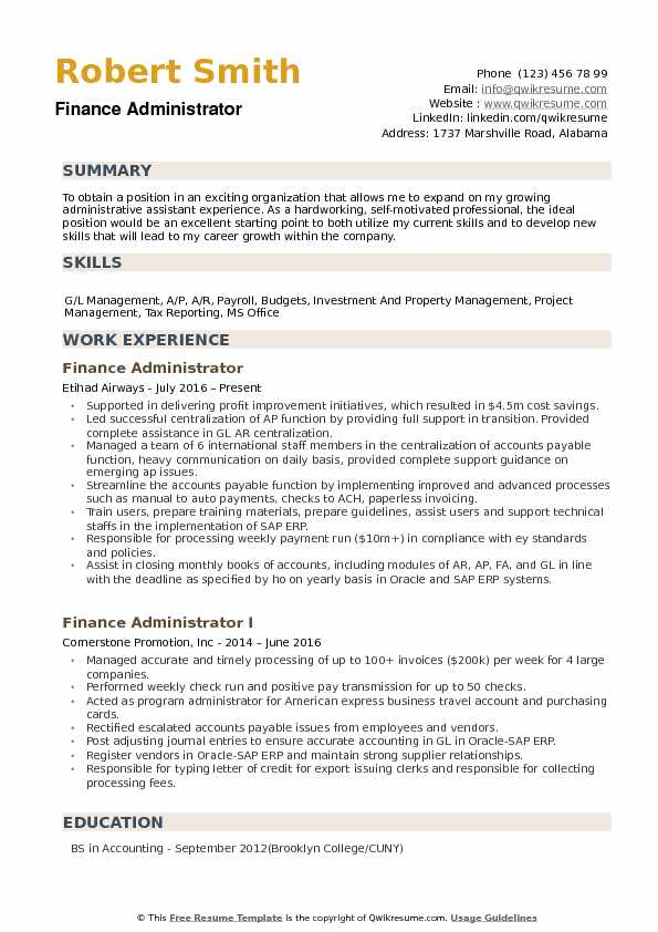 Finance Administrator Resume example