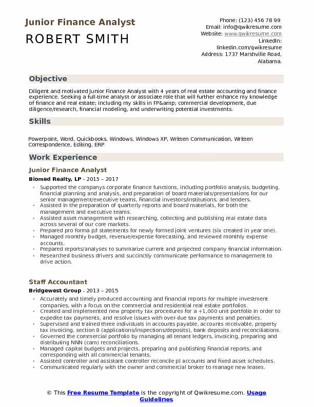 Junior Finance Analyst Resume Template