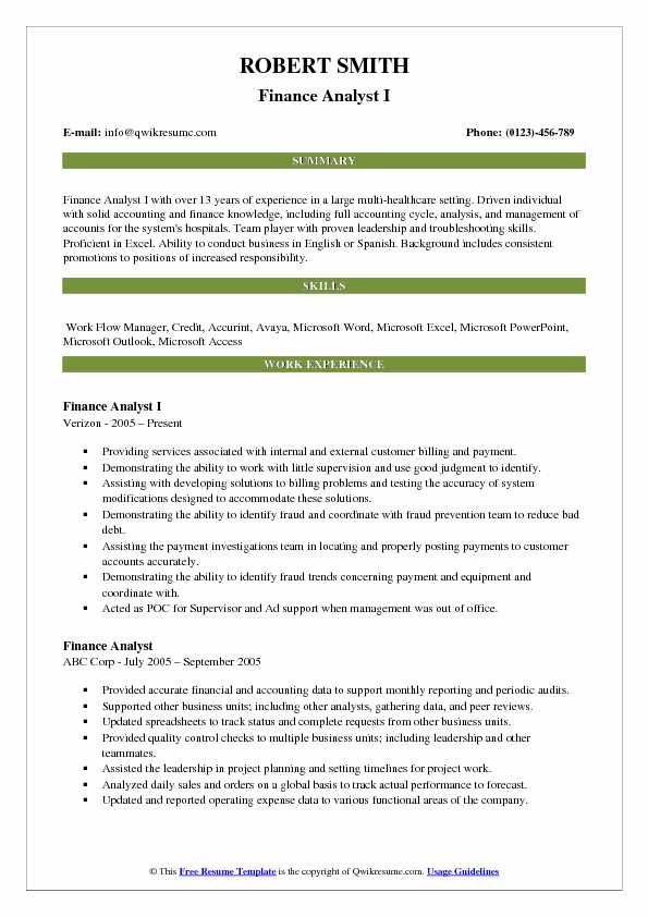 Finance Analyst I Resume Sample