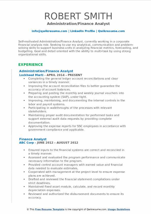 Administration/Finance Analyst Resume Format