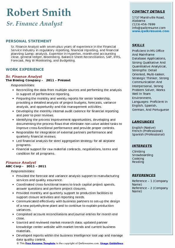 Sr. Finance Analyst Resume Example