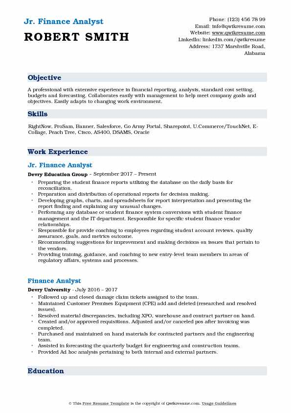 Jr. Finance Analyst Resume Format