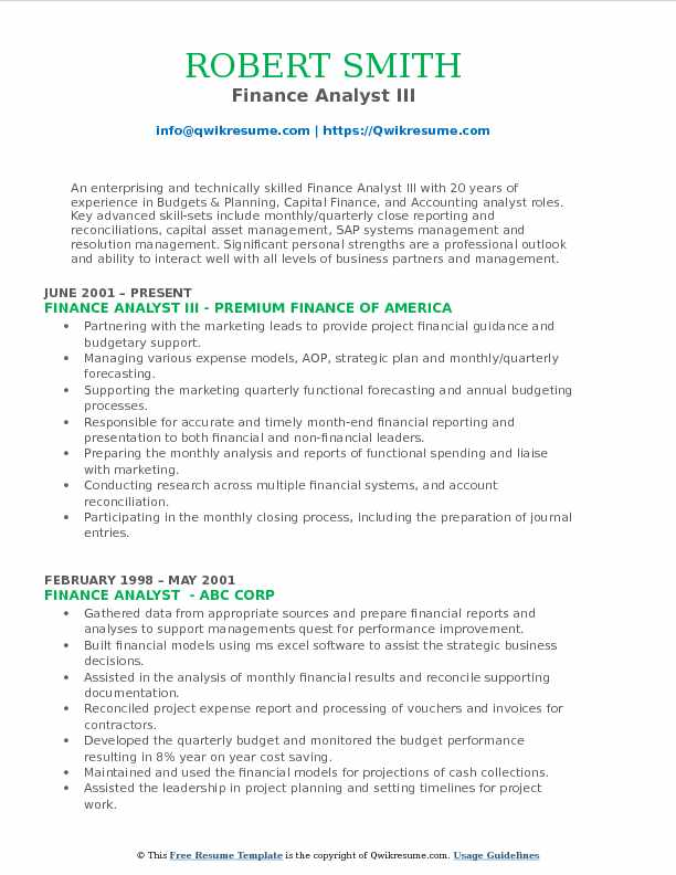 Finance Analyst III Resume Example