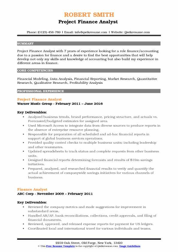 Project Finance Analyst  Resume Model