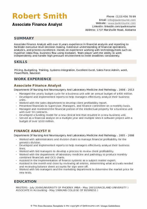 finance analyst resume samples