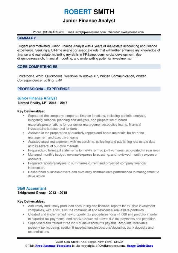 Jr. Business Development Intern Resume Model