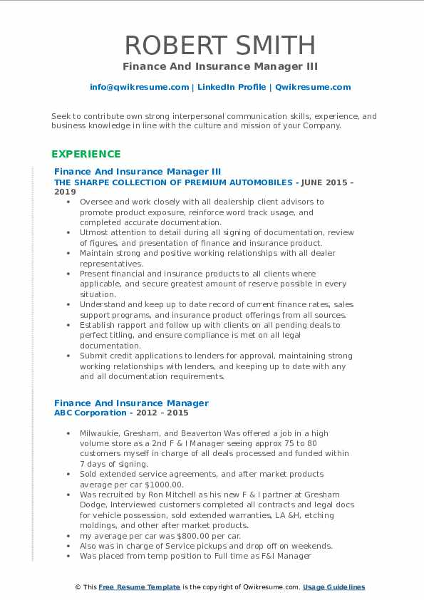 Finance And Insurance Manager Resume Samples Qwikresume