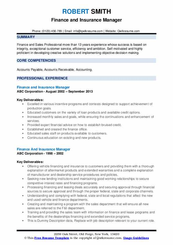 Finance And Insurance Manager Resume example