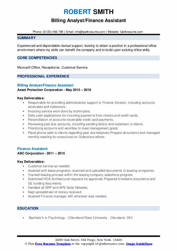 Billing Analyst/Finance Assistant Resume Example