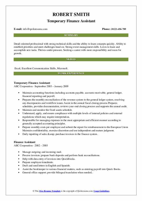 Temporary Finance Assistant Resume Sample