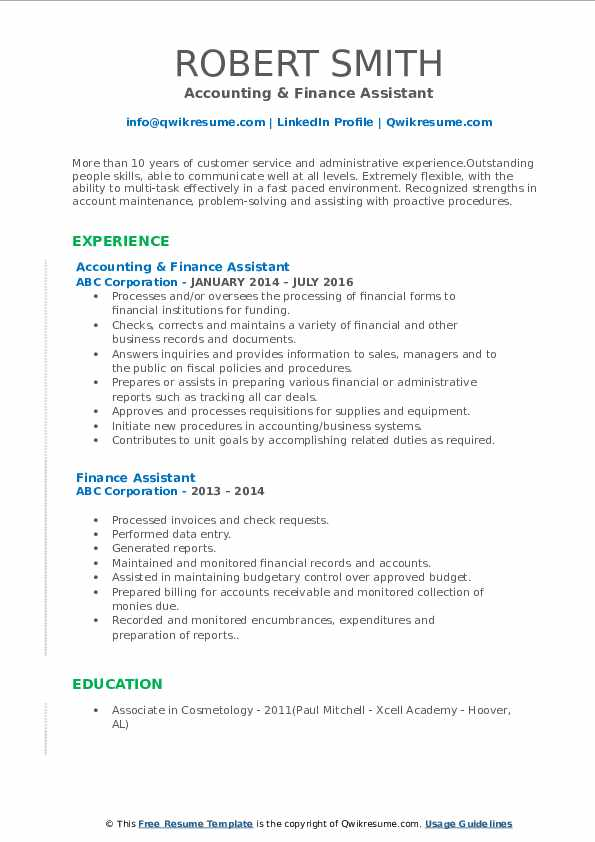 Accounting & Finance Assistant Resume Format