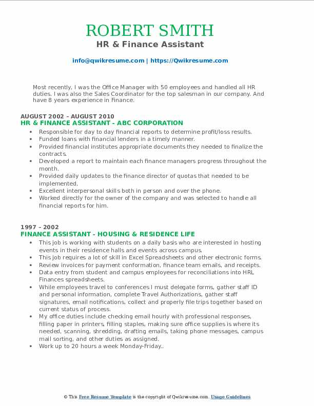HR & Finance Assistant Resume Template