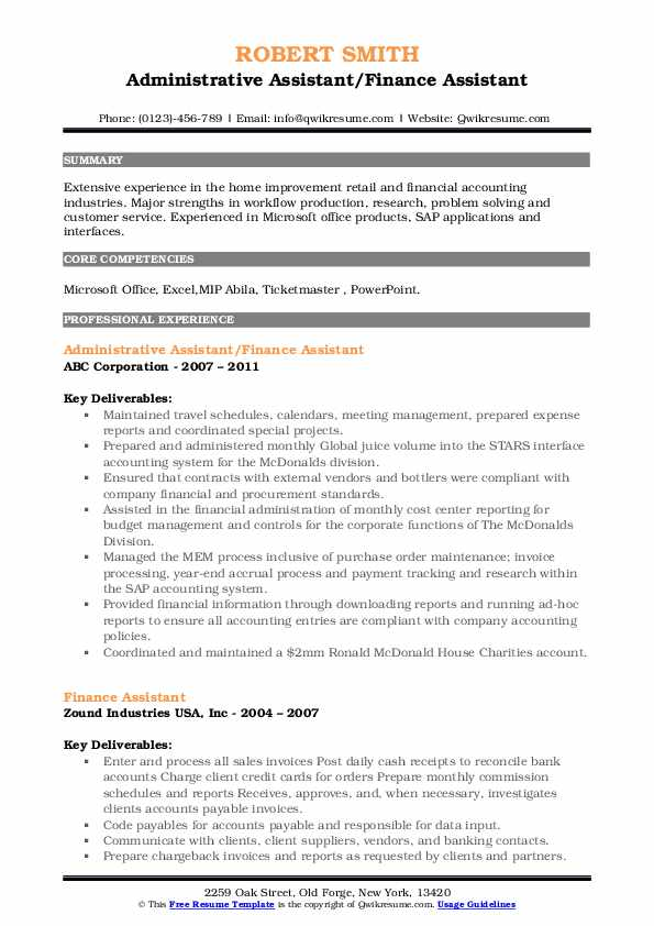 Administrative Assistant/Finance Assistant Resume Format