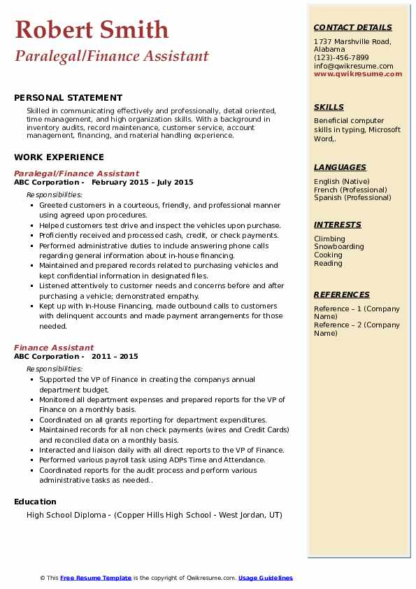Paralegal/Finance Assistant Resume Example