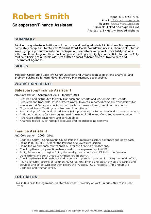 Salesperson/Finance Assistant Resume Template