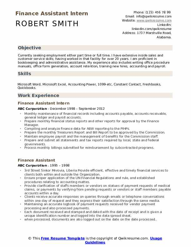 Finance Assistant Intern Resume Format