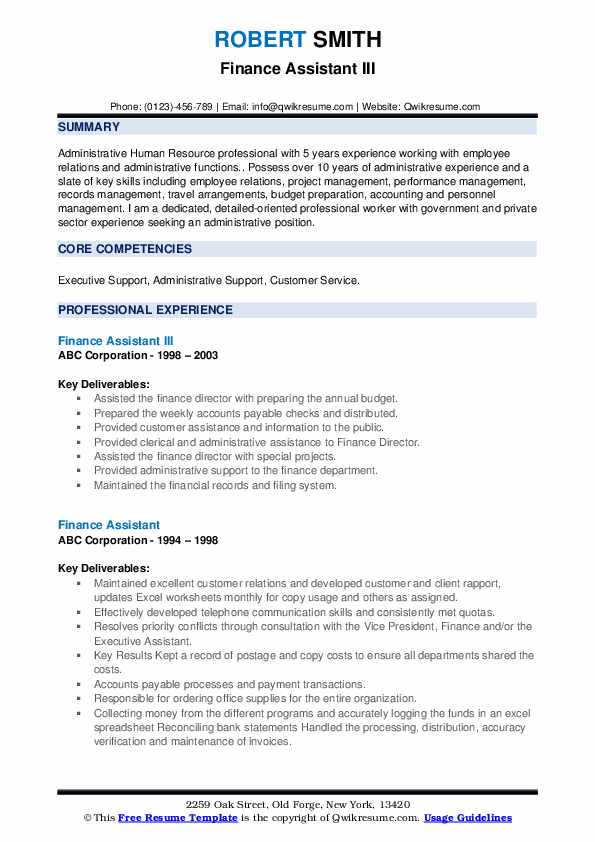 Finance Assistant III Resume Template