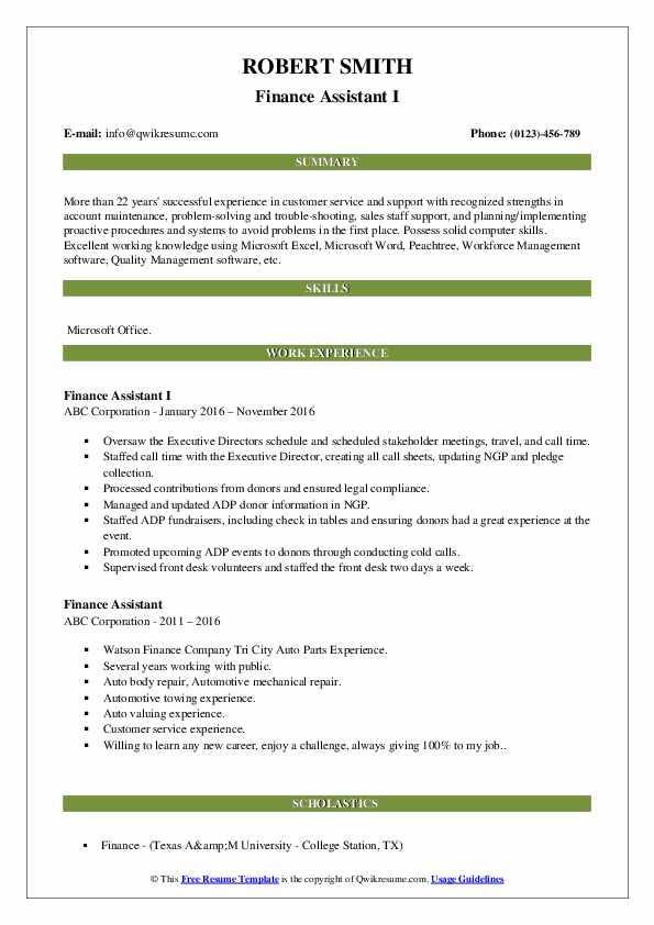 Finance Assistant I Resume Model