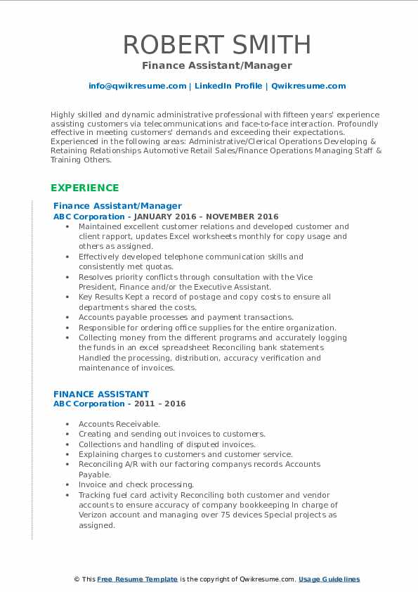 Finance Assistant/Manager Resume Template