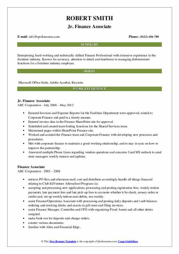 Jr. Finance Associate Resume Sample