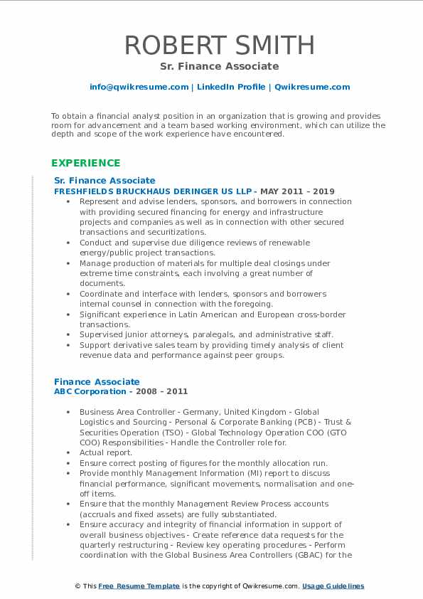 Sr. Finance Associate Resume Format