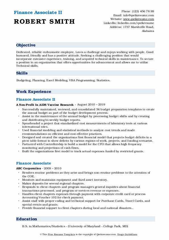 Finance Associate II Resume Format