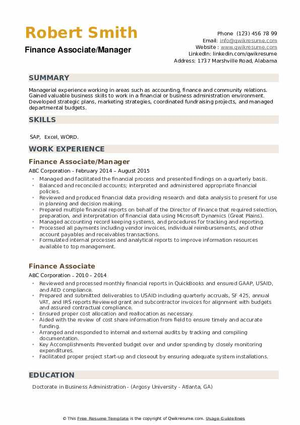 Finance Associate/Manager Resume Sample