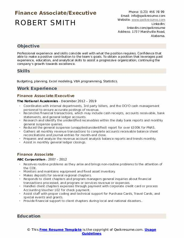 Finance Associate/Executive Resume Format