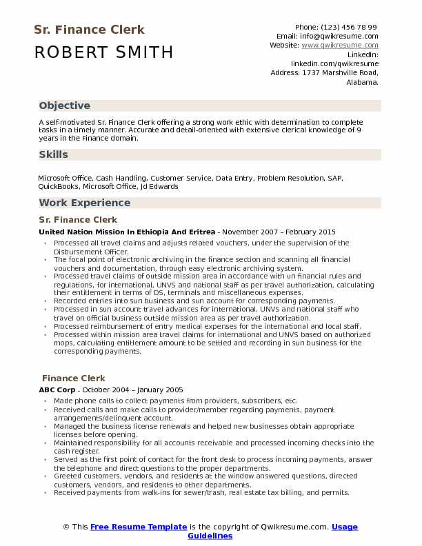 Sr. Finance Clerk Resume Example