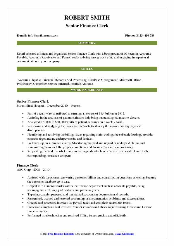 Senior Finance Clerk Resume Format