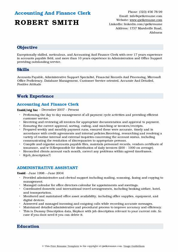 Accounting And Finance Clerk Resume Example