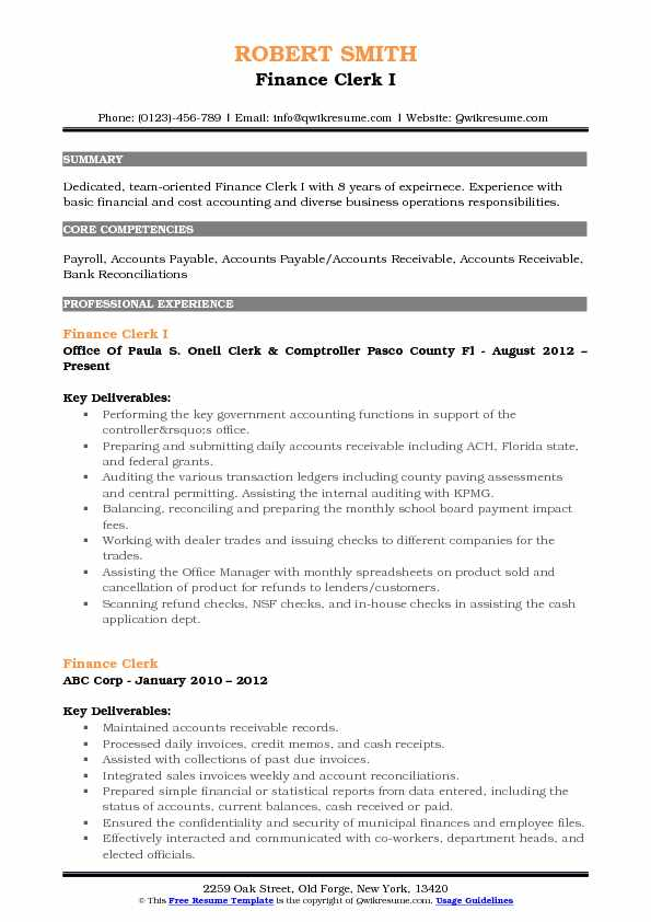 Finance Clerk I Resume Sample