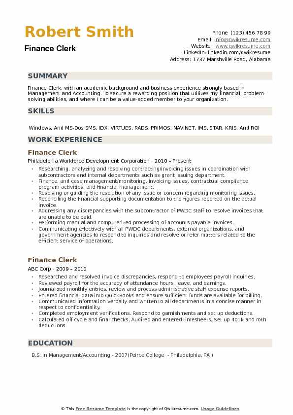 Finance Clerk Resume example