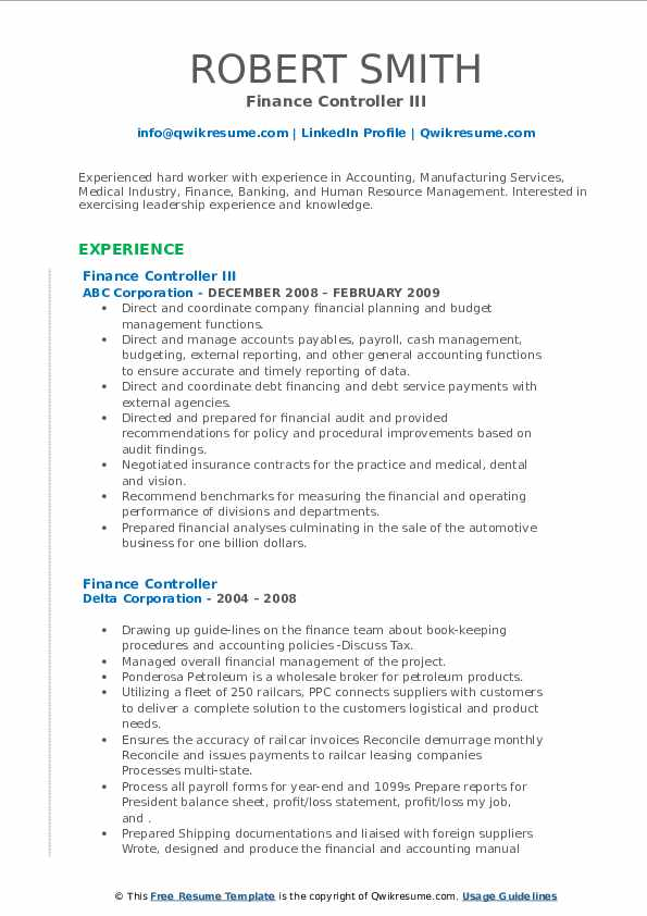finance controller resume samples  qwikresume