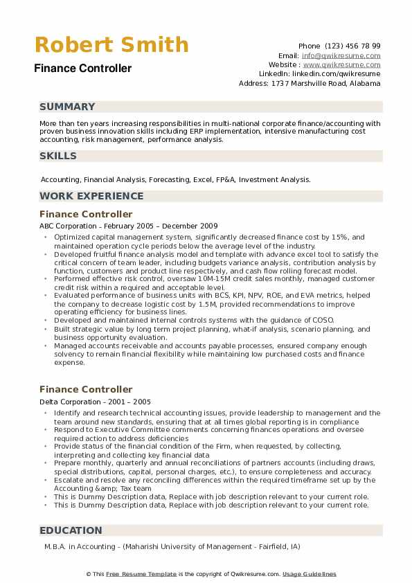 Finance Controller Resume example