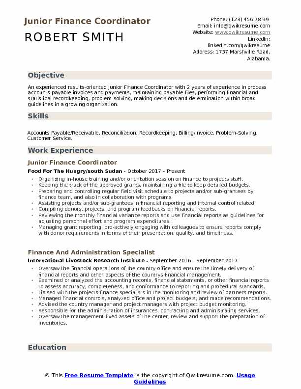 Junior Finance Coordinator Resume Example